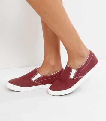 Wide Fit - Rote Canvas-Slipper