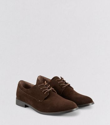 Brown Suedette Derby Shoes
