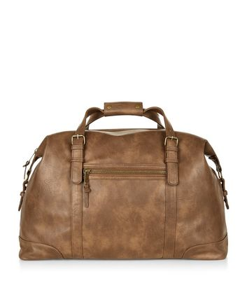 Tan Leather-Look Holdall Bag
