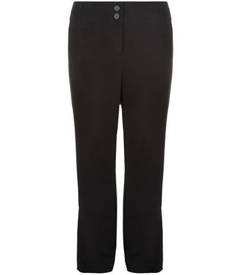 Curves Black Pleat Front Trousers
