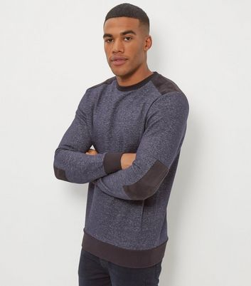 Navy Contrast Patch Crew Neck Sweater
