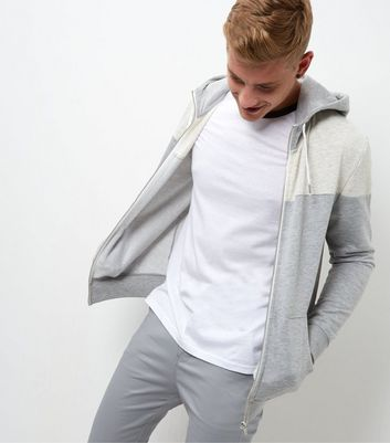 Cream Colour Block Zip Up Hoodie