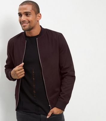 Bugundy Cotton Bomber Jacket