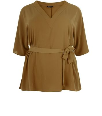 Curves Khaki Tie Waist Wide Sleeve Top