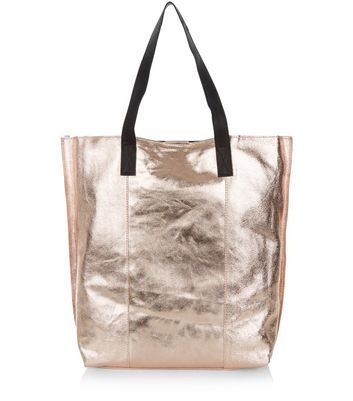 Bronze Leather Metallic Shopper Bag