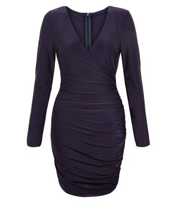 AX Paris Navy Long Sleeve Wrap Dress