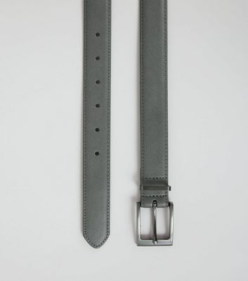 Grey Leather Look Belt