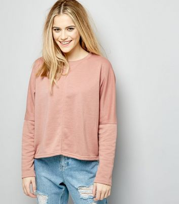 Pink Batwing Sleeve Cropped Sweater