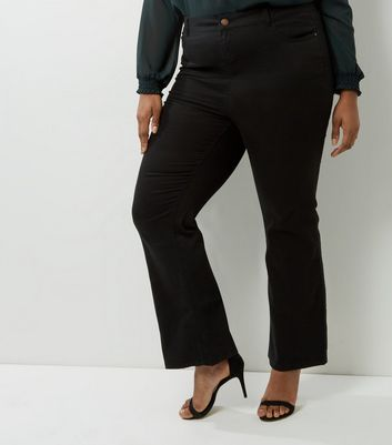 Curves Black Bootcut Trousers