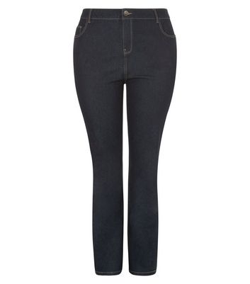 Curves – Marineblaue Bootcut Jeans