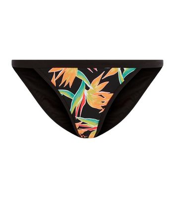 Black Tropical Print Strappy Side Bikini Bottoms