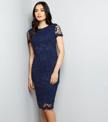 AX Paris Navy Crochet Lace Midi Dress