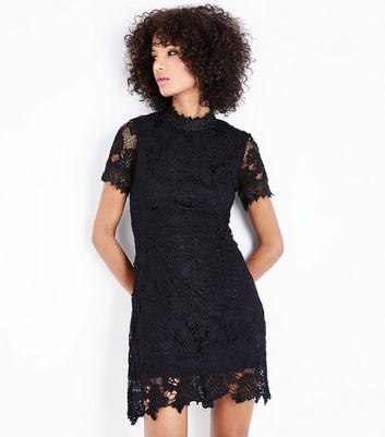 AX Paris Black Lace Funnel Neck Dress