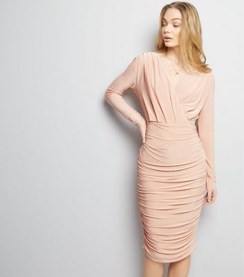 AX Paris Pink Ruched V Neck Wrap Front Dress