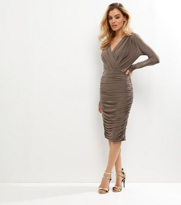 AX Paris Bronze Ruched V Neck Wrap Front Dress