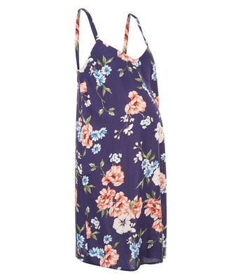 Maternity Blue Floral Print Slip Dress