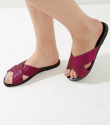 Wide Fit Pink Suede Metallic Cross Strap Mules