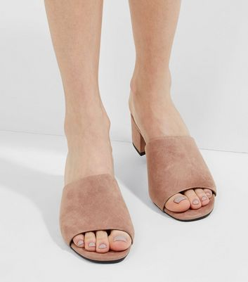 Light Pink Suedette Heeled Mules