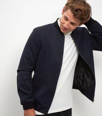 Navy Tailored Bomber Jacket