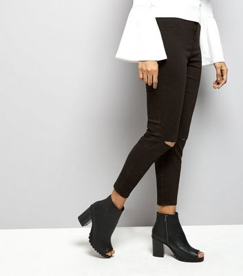 Petite Black High Waisted Ripped Knee Skinny Jeans