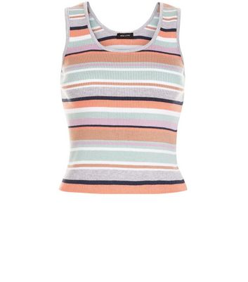 Petite Multicoloured Stripe Ribbed Vest