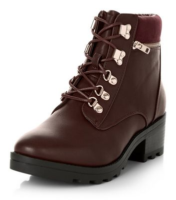 Dark Red Lace Up Chunky Ankle Boots