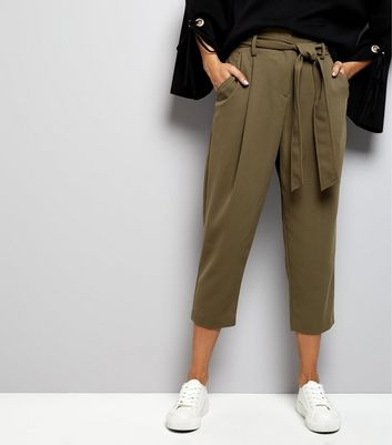 Petite Khaki Belted Trousers