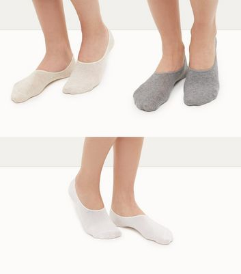 3 Pack Stone White and Grey Ballerina Socks