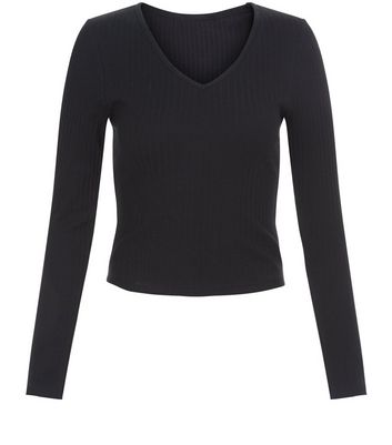 Teens Black V Neck Long Sleeve Top