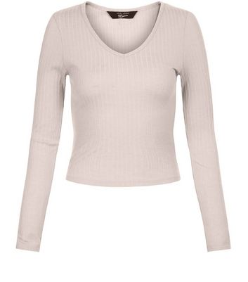 Teens Shell Pink Ribbed V Neck Long Sleeve Top