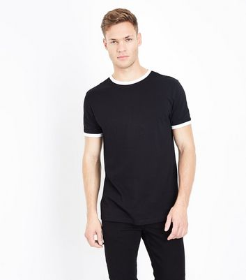Black Contrast Trim T-Shirt