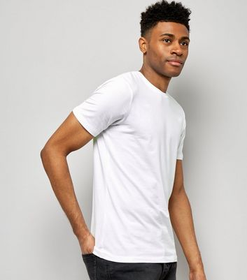 White Muscle Fit Mix Stretch T-Shirt