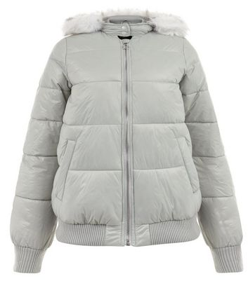 Teens Grey Faux Fur Trim Puffer Jacket