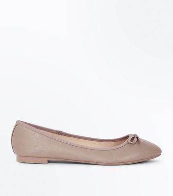 Wide Fit Mink Square Toe Ballet Pumps