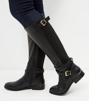 Black Leather-Look Riding Boots