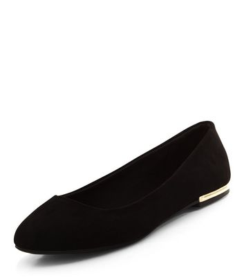 Wide Fit Black Suedette Metal Trim Ballet Pumps