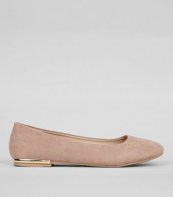 Wide Fit Cream Suedette Metal Trim Ballet Pumps
