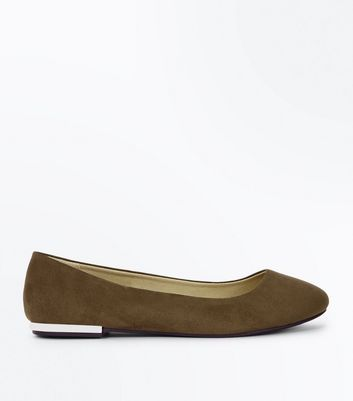 Wide Fit Olive Green Suedette Metal Heel Ballet Pumps