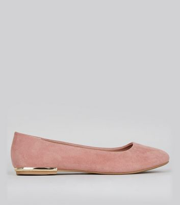 Wide Fit Pink Suedette Metal Trim Ballet Pumps