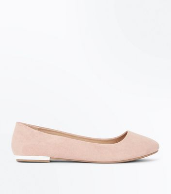 Wide Fit Pale Pink Suedette Metal Heel Ballet Pumps