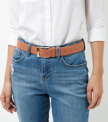 Tan Leather-Look Jeans Belt