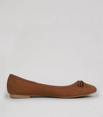 Wide Fit Dark Tan Suedette Ballet Pump