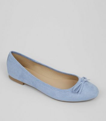Wide Fit Pale Blue Suedette Ballet Pumps