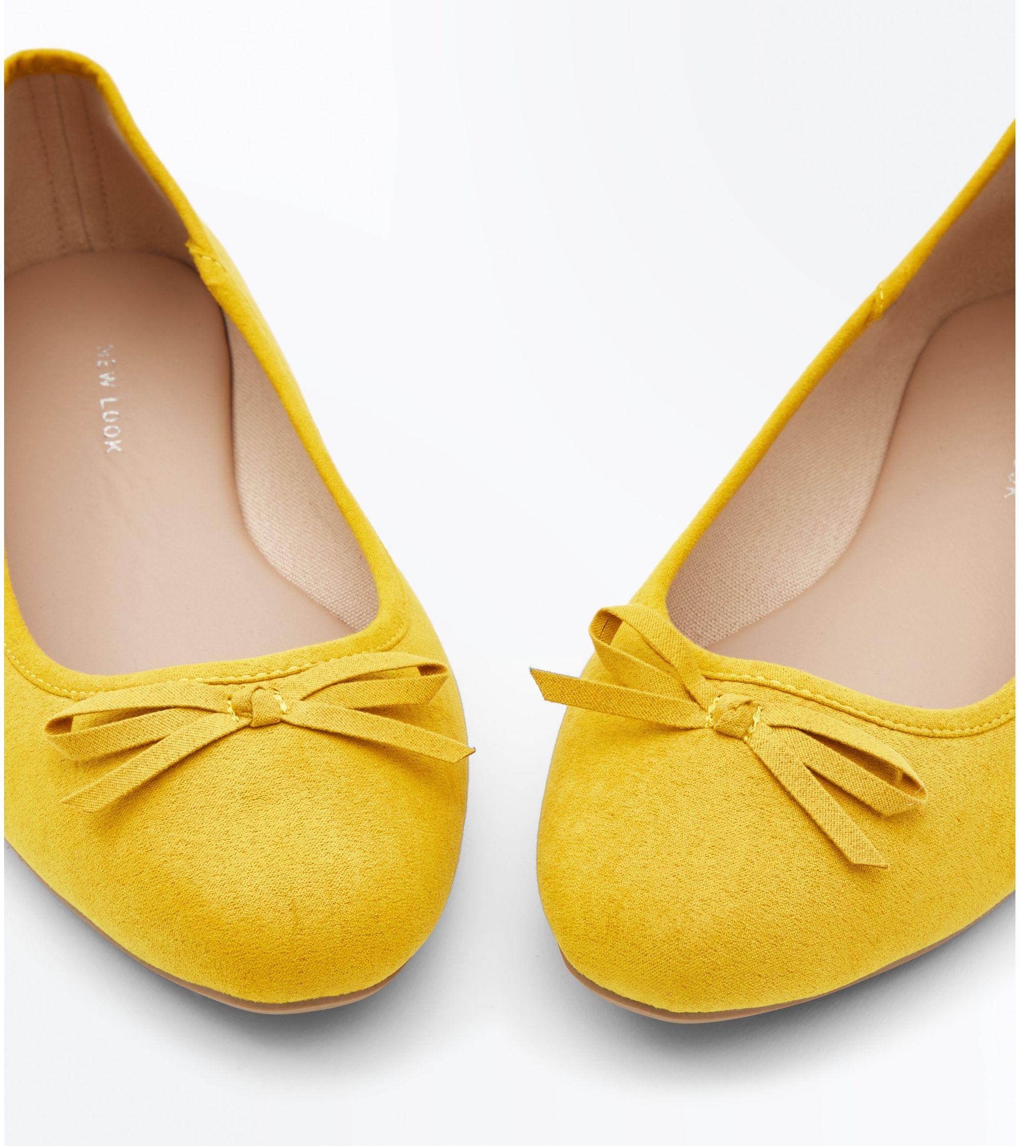 ec357cf8323b New Look Wide Fit Mustard Suedette Ballet Pumps at £9.99