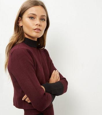 Burgundy Contrast Stripe Cropped Jumper