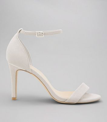 Wide Fit Pale Grey Suedette Metal Trim Ankle Strap Heels