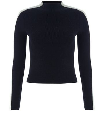 Teens Black Side Stripe Funnel Neck Top