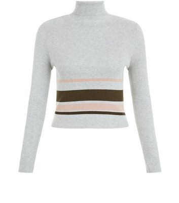 Teens Grey Ribbed Placed Stripe Funnel Neck Top
