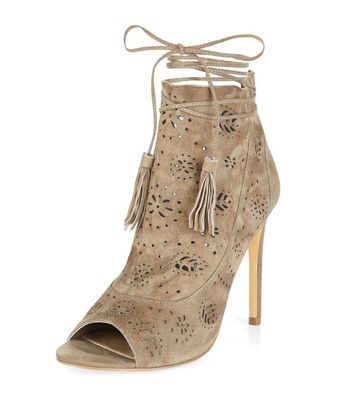 Grey Premium Suede Laser Cut Out Peep Toe Heels
