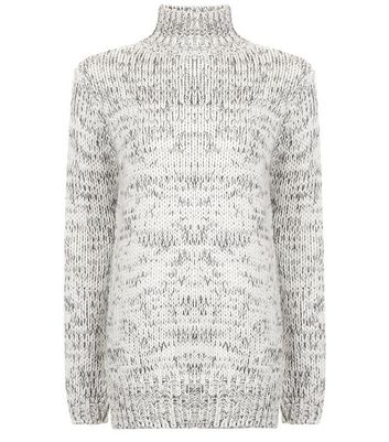 Teens White Funnel Neck Long Line Knitted Jumper